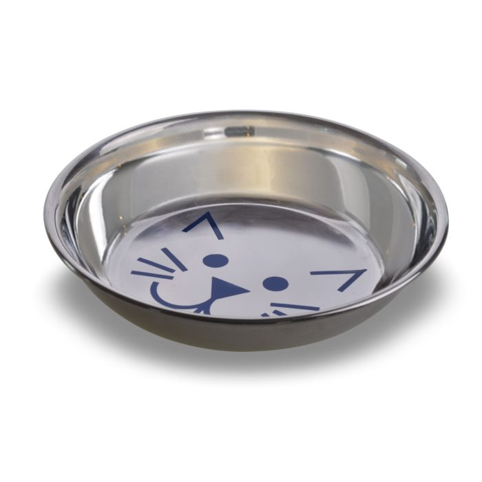 Stainless Steel Saucer Style Decorated Cat Dish